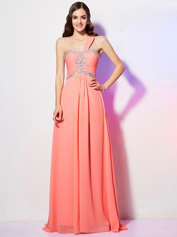 Watermelon Chiffon One-Shoulder A-Line/Princess Sweep/Brush Train Dresses