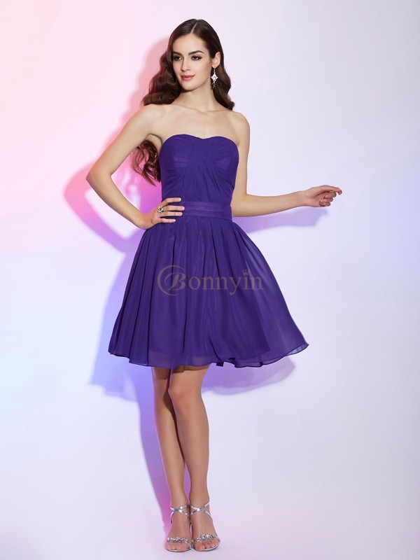 Grape Chiffon Sweetheart A-Line/Princess Short/Mini Cocktail Dresses