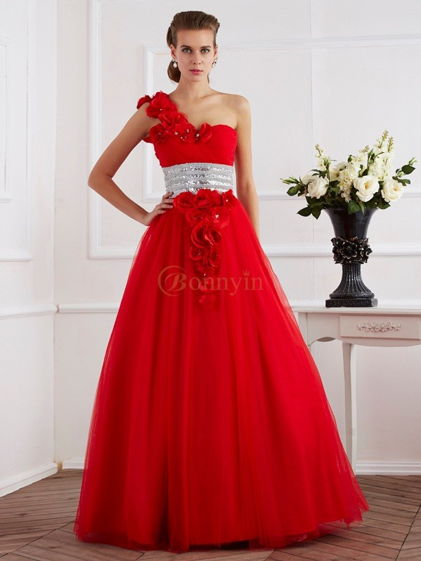 Red Net One-Shoulder Ball Gown Floor-Length Dresses