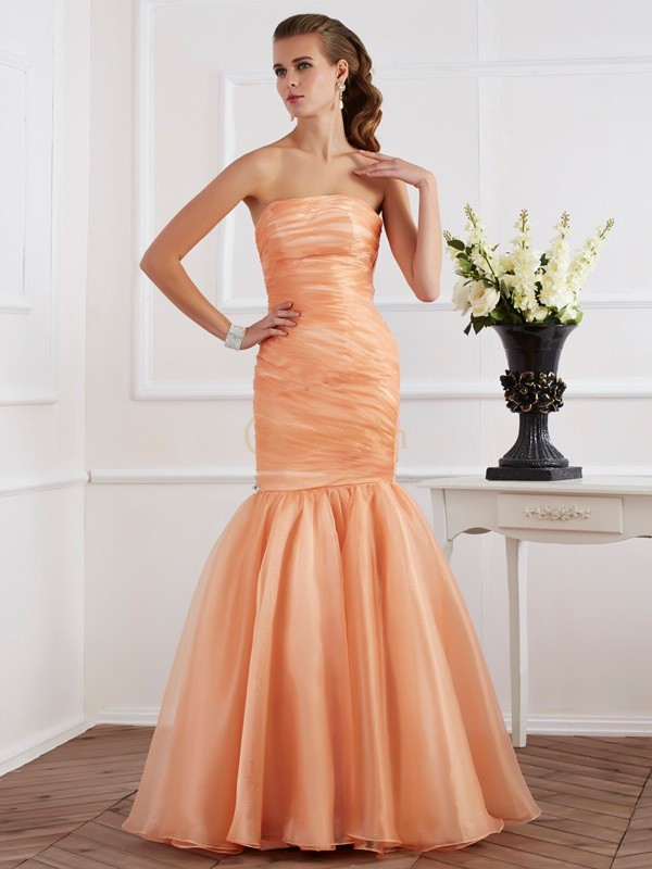 Orange Tulle Strapless Trumpet/Mermaid Floor-Length Dresses