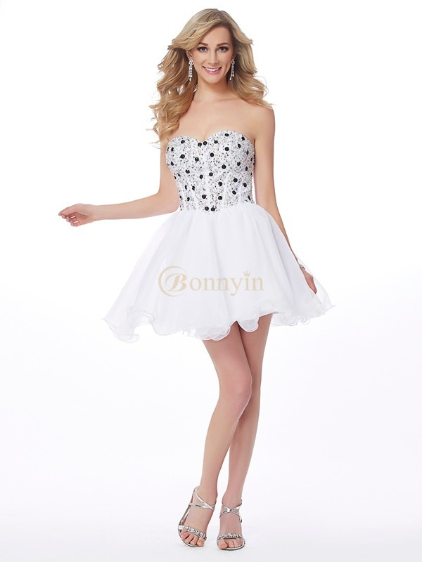 White Elastic Woven Satin Sweetheart A-Line/Princess Short/Mini Cocktail Dresses