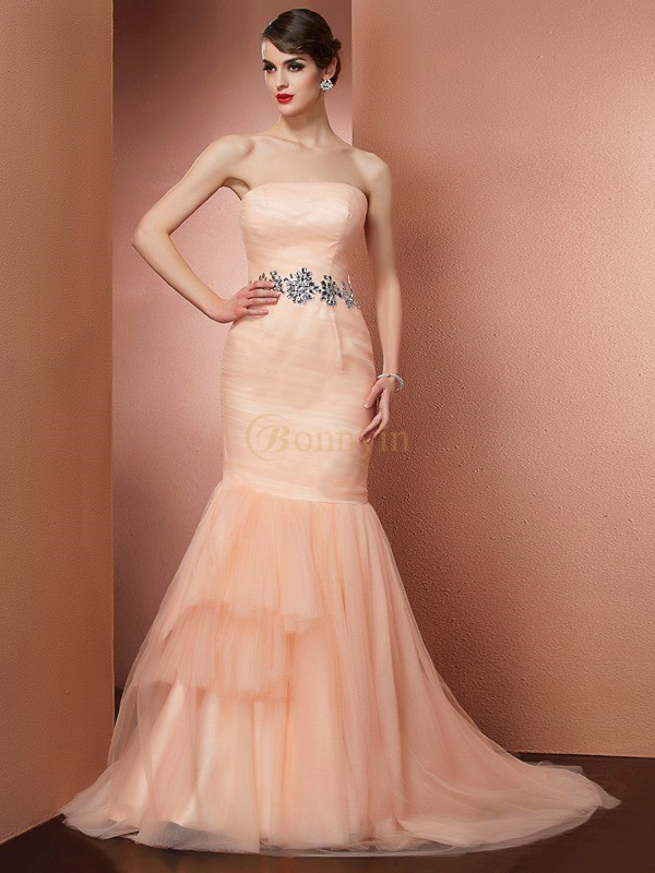 Orange Net Strapless Trumpet/Mermaid Sweep/Brush Train Dresses