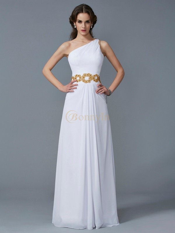 White Chiffon One-Shoulder Sheath/Column Floor-Length Dresses