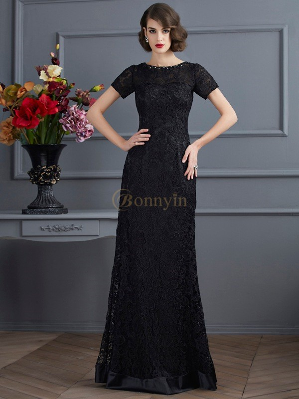 Black Elastic Woven Satin Lace High Neck Sheath/Column Floor-Length Dresses