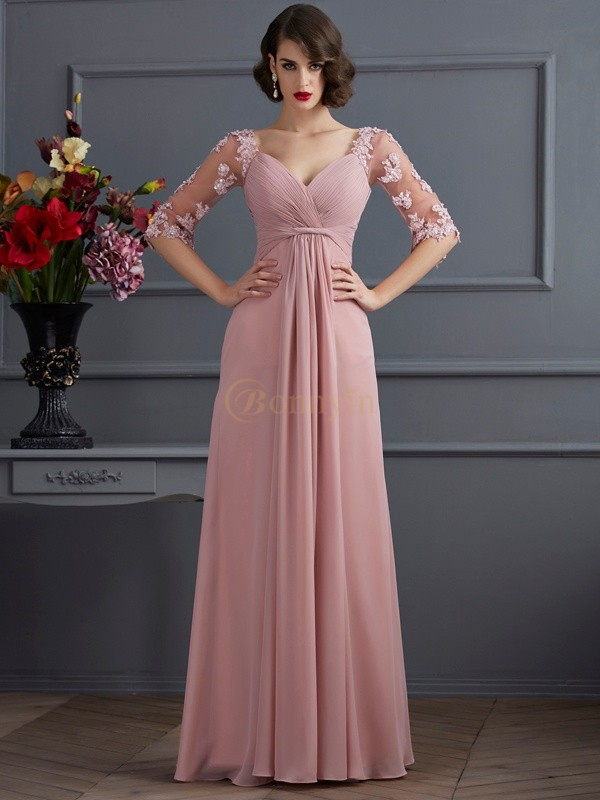 Pearl Pink Chiffon Sweetheart A-Line/Princess Floor-Length Dresses