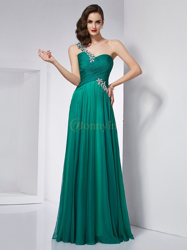Dark Green Chiffon One-Shoulder A-Line/Princess Floor-Length Dresses