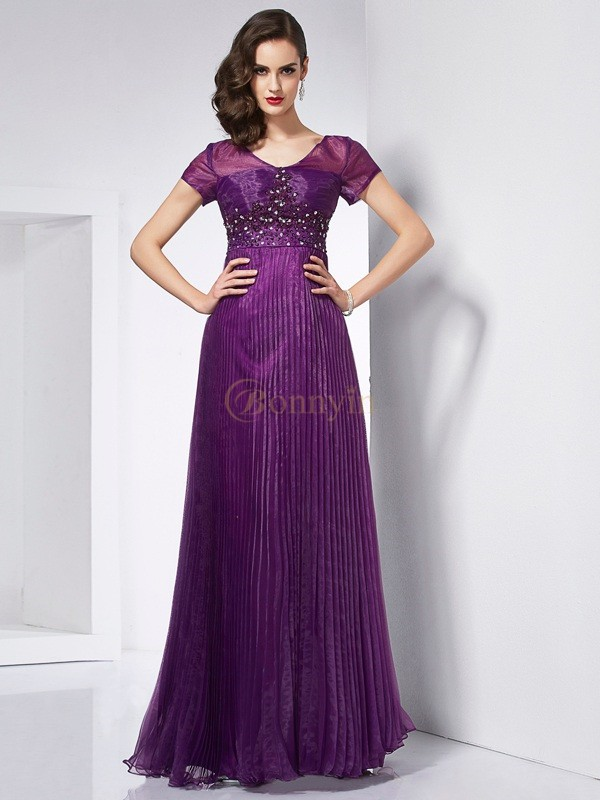 Regency Organza V-neck A-Line/Princess Floor-Length Dresses