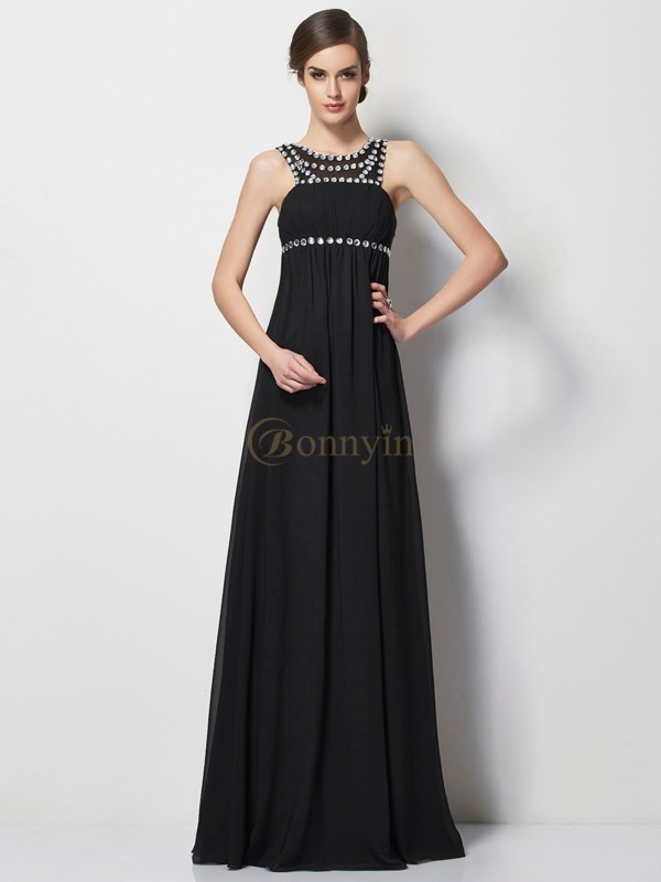 Black Chiffon High Neck Sheath/Column Floor-Length Dresses