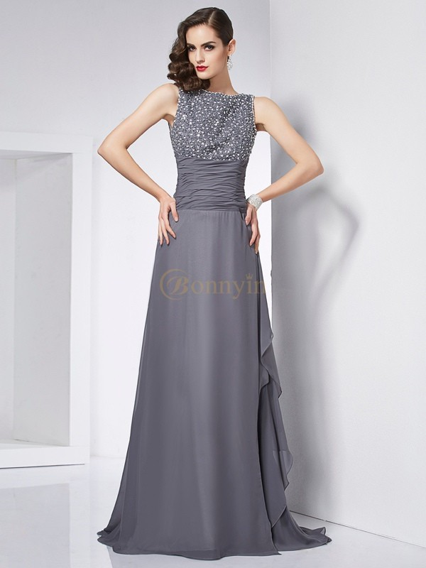 Grey Chiffon Jewel A-Line/Princess Sweep/Brush Train Dresses