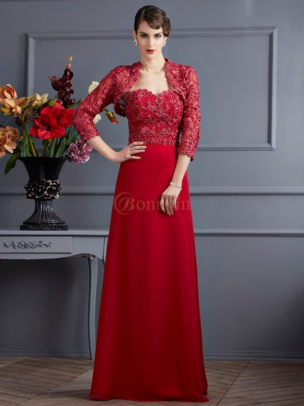Red Chiffon Sweetheart A-Line/Princess Floor-Length Mother of the Bride Dresses
