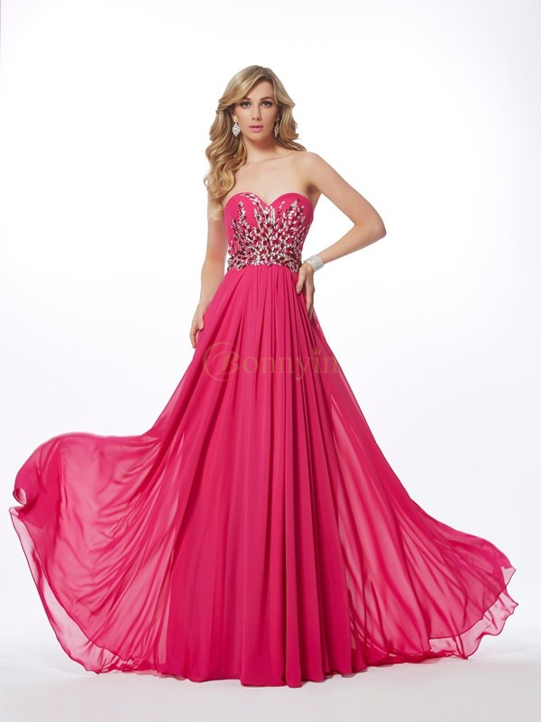Watermelon Chiffon Sweetheart A-Line/Princess Sweep/Brush Train Dresses