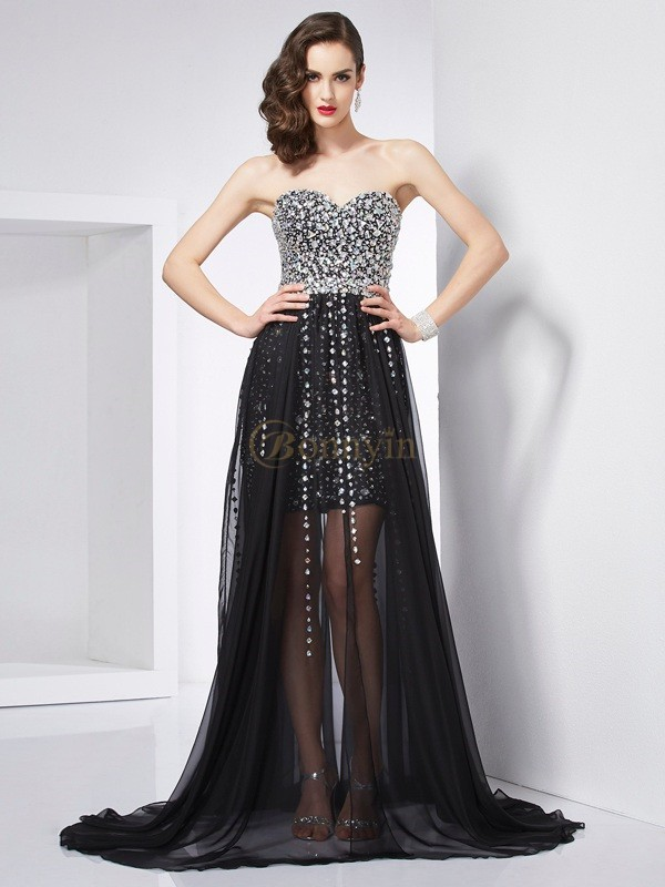 Black Chiffon Sweetheart A-Line/Princess Sweep/Brush Train Dresses