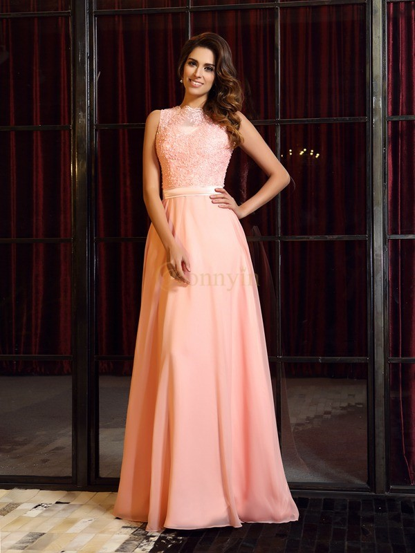 Pink Chiffon High Neck A-Line/Princess Sweep/Brush Train Dresses