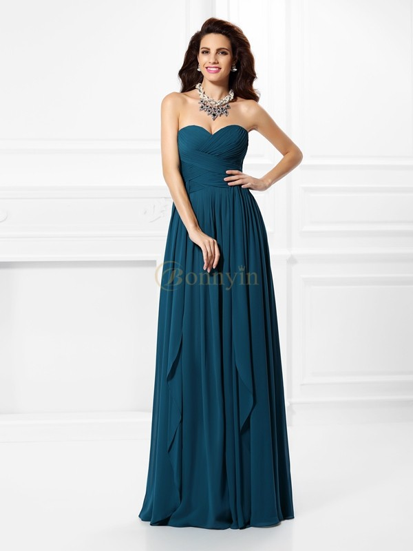 Hunter Green Chiffon Sweetheart A-Line/Princess Floor-Length Dresses