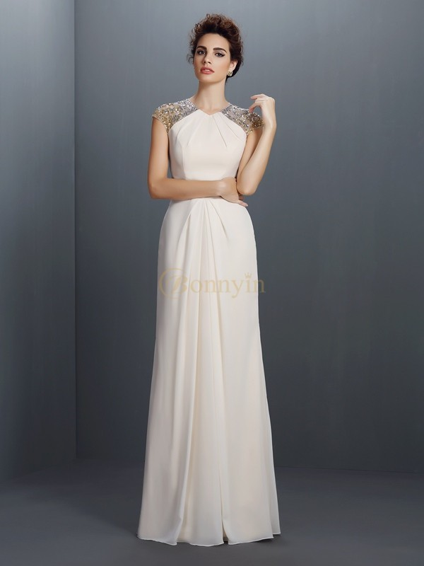 Champagne Chiffon Jewel A-Line/Princess Floor-Length Dresses