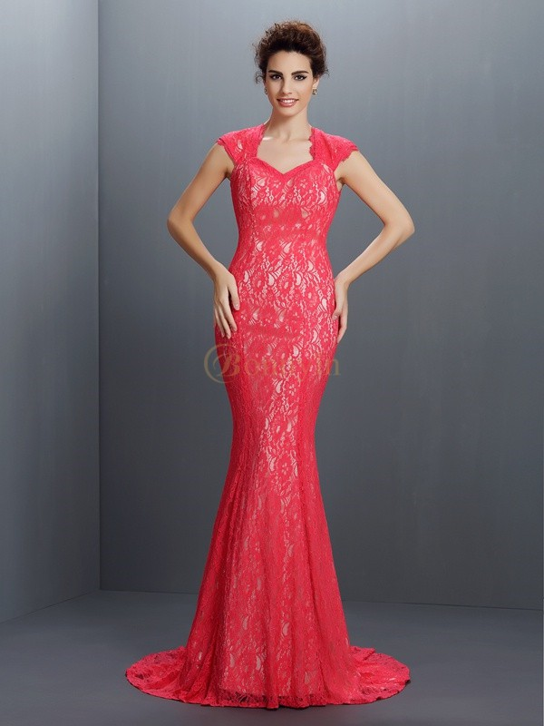Red Lace V-neck Trumpet/Mermaid Sweep/Brush Train Dresses