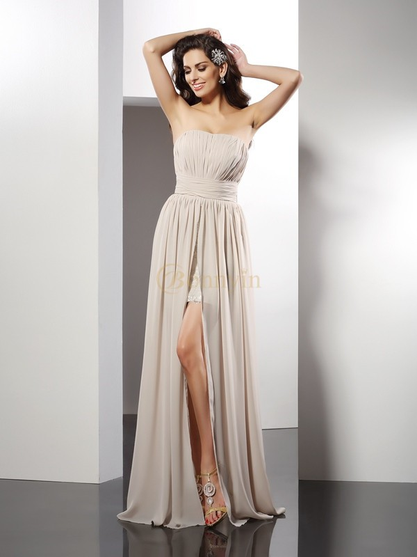 Champagne Chiffon Strapless Sheath/Column Floor-Length Dresses
