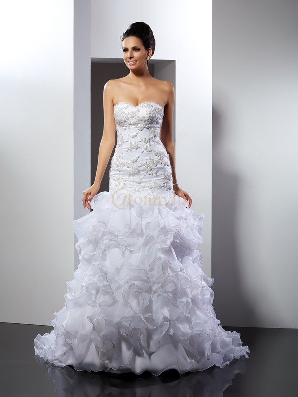 White Organza Sweetheart Trumpet/Mermaid Chapel Train Wedding Dresses