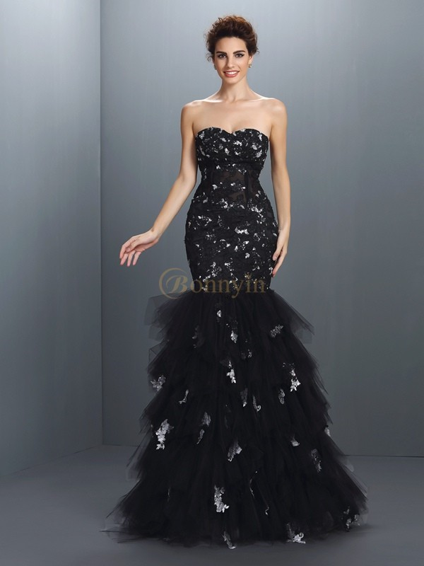 Black Net Sweetheart Trumpet/Mermaid Floor-Length Dresses