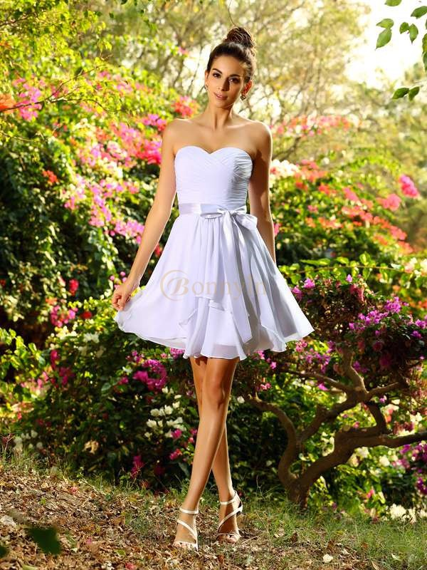 White Chiffon Sweetheart A-Line/Princess Short/Mini Bridesmaid Dresses