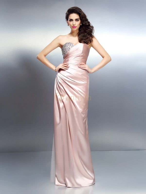 Champagne Elastic Woven Satin Sweetheart Trumpet/Mermaid Floor-Length Dresses