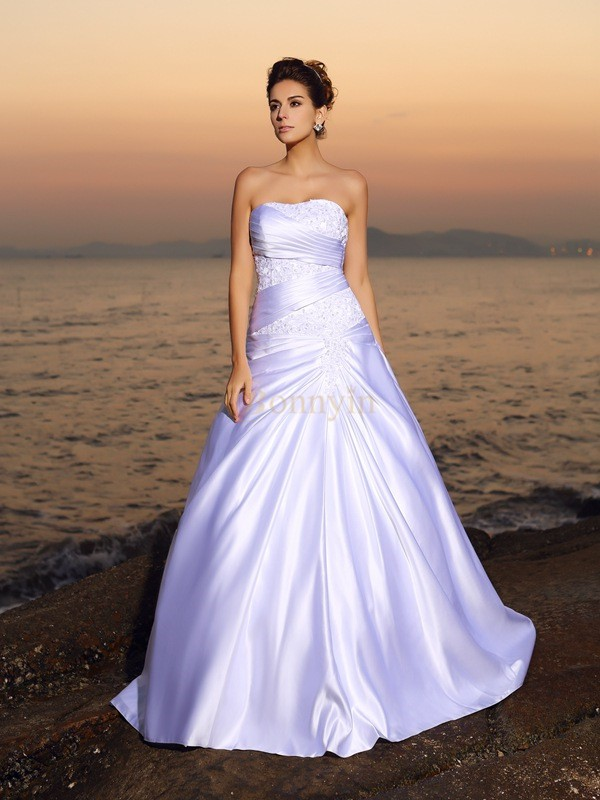 White Satin Strapless Ball Gown Court Train Wedding Dresses