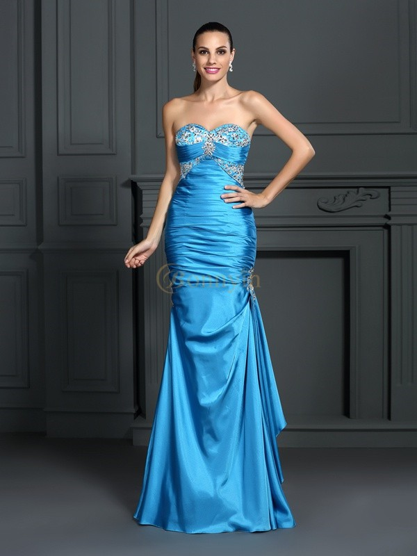 Blue Elastic Woven Satin Sweetheart Trumpet/Mermaid Floor-Length Dresses