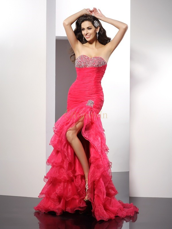 Watermelon Organza Sweetheart Sheath/Column Floor-Length Dresses