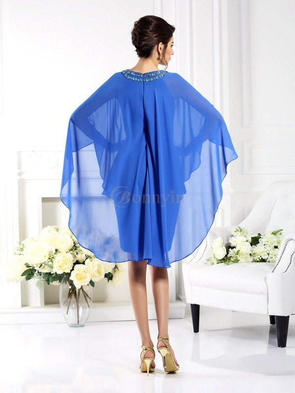 Blue Chiffon Bateau Sheath/Column Knee-Length Mother of the Bride Dresses