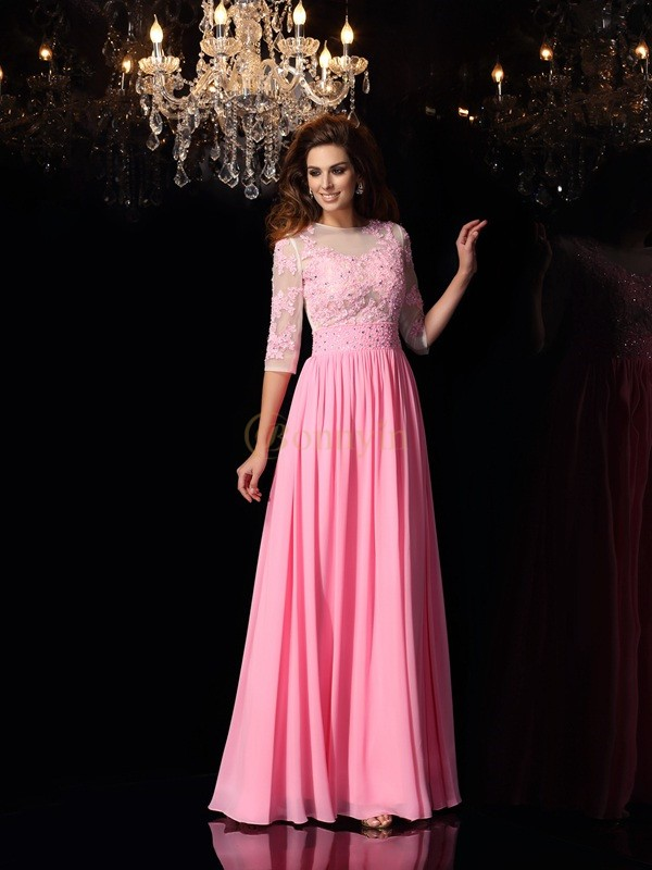 Pink Silk like Satin Scoop A-Line/Princess Floor-Length Dresses
