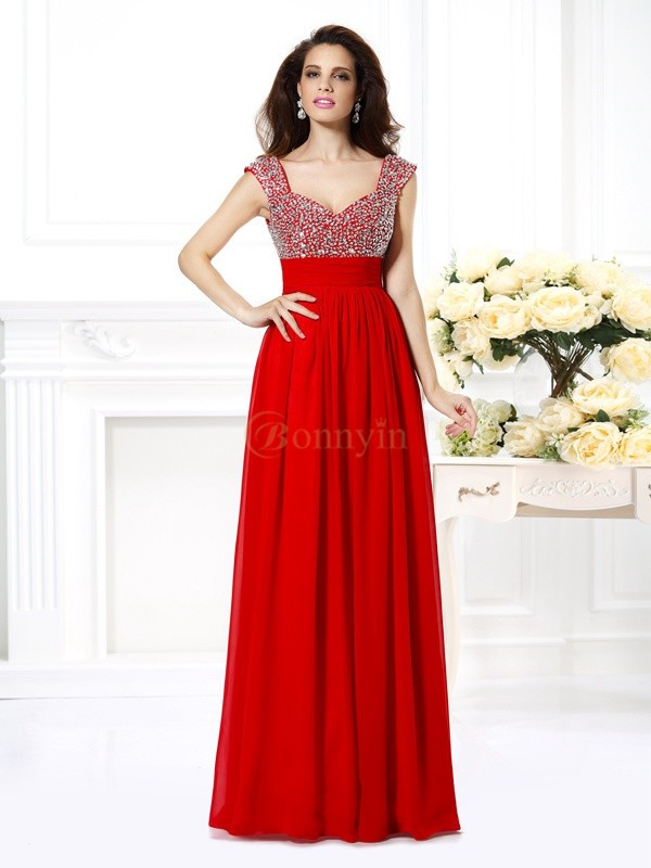 Red Chiffon Straps A-Line/Princess Floor-Length Dresses