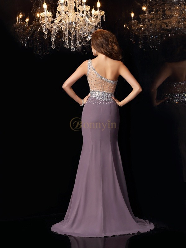 Grey Chiffon One-Shoulder Trumpet/Mermaid Sweep/Brush Train Dresses