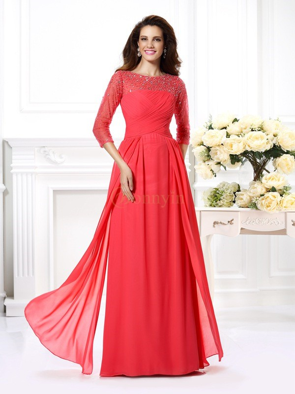 Watermelon Chiffon Scoop A-Line/Princess Floor-Length Dresses