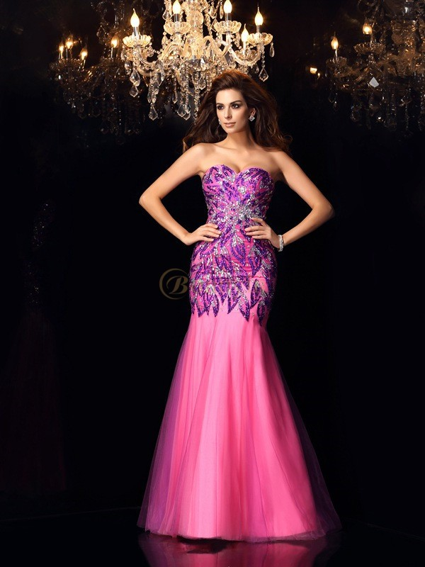 Fuchsia Net Sweetheart Trumpet/Mermaid Floor-Length Dresses