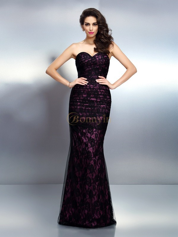 Black Elastic Woven Satin Sweetheart Trumpet/Mermaid Floor-Length Evening Dresses