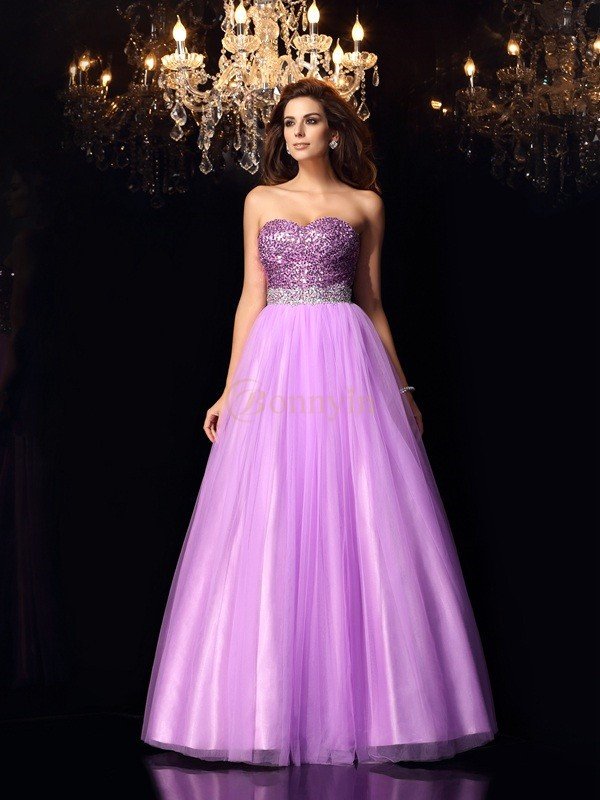 Lilac Elastic Woven Satin Sweetheart Ball Gown Floor-Length Dresses
