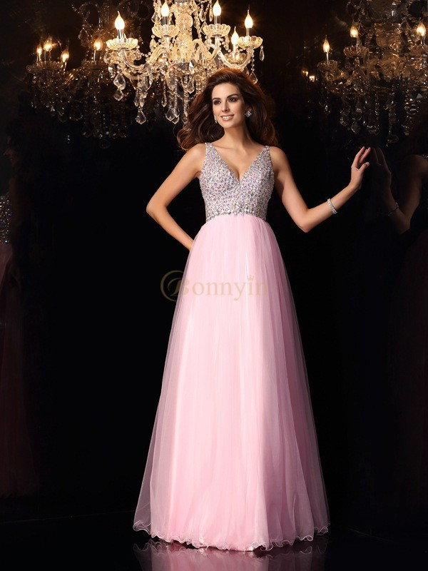 Pink Elastic Woven Satin V-neck A-Line/Princess Floor-Length Dresses