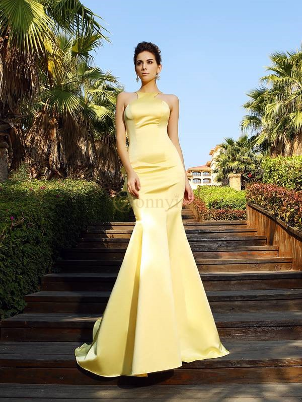 Yellow Satin Scoop Trumpet/Mermaid Court Train Dresses