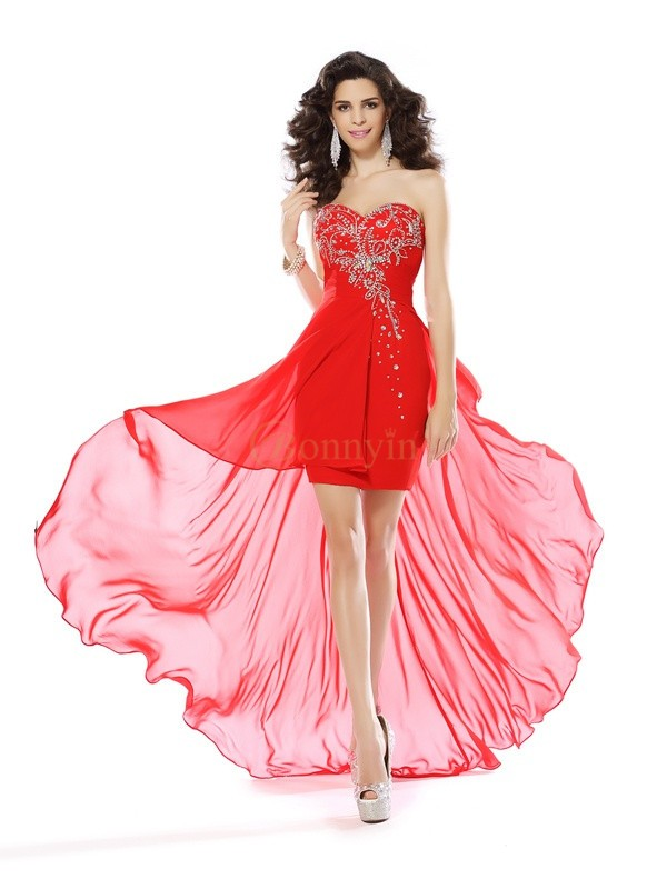 Red Chiffon Sweetheart Sheath/Column Short/Mini Dresses
