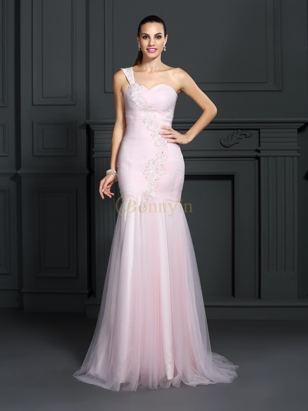 Pink Satin One-Shoulder Trumpet/Mermaid Sweep/Brush Train Dresses
