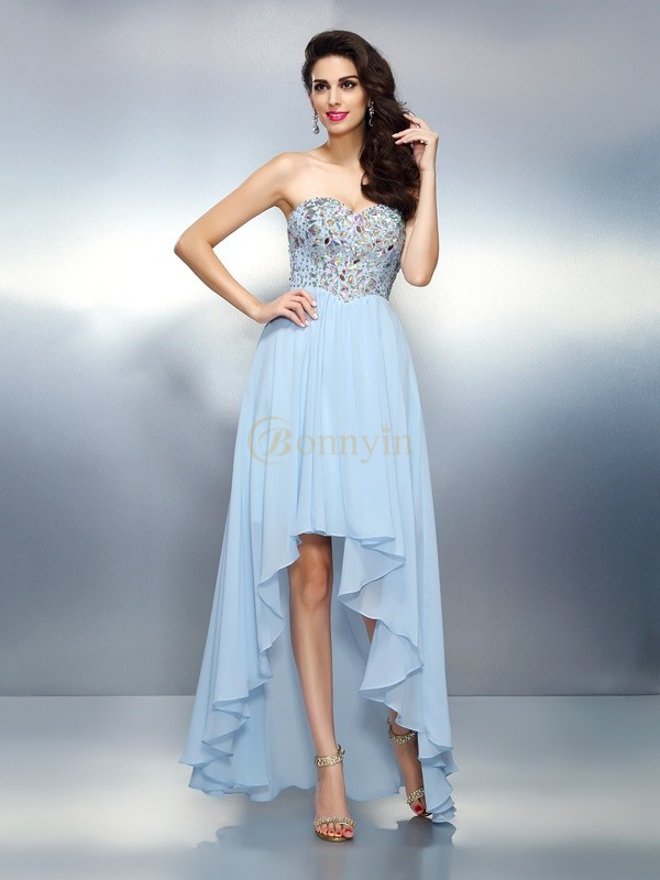 Light Sky Blue Chiffon Sweetheart A-Line/Princess Asymmetrical Dresses