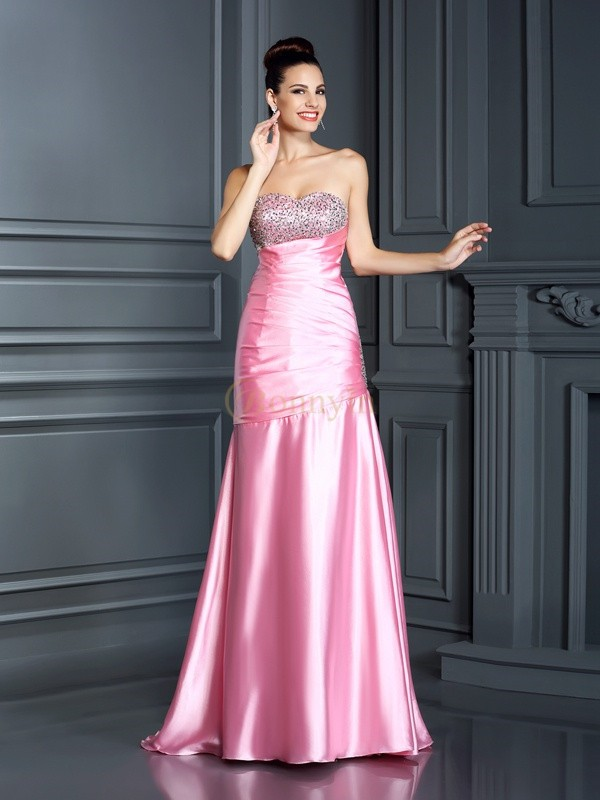 Pink Elastic Woven Satin Sweetheart Trumpet/Mermaid Sweep/Brush Train Dresses