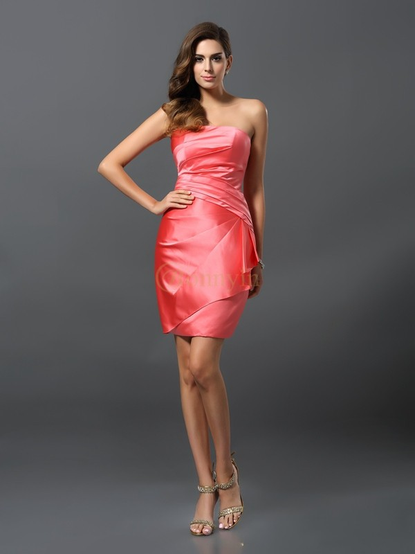 Watermelon Satin Strapless Sheath/Column Short/Mini Bridesmaid Dresses