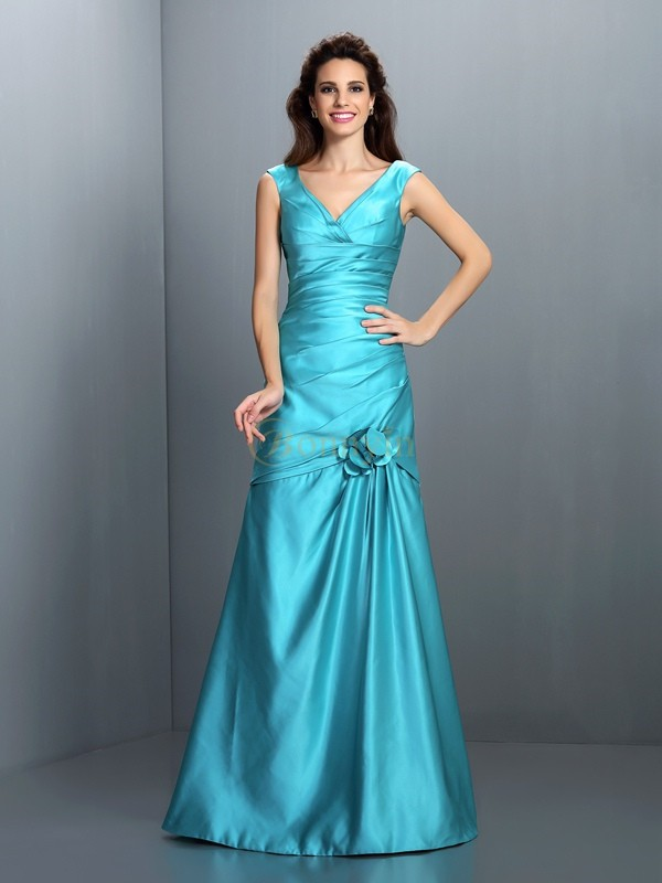 Blue Satin V-neck A-Line/Princess Floor-Length Bridesmaid Dresses
