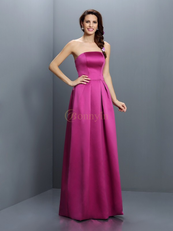 Fuchsia Satin Strapless Sheath/Column Floor-Length Bridesmaid Dresses