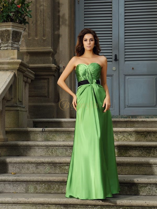 Green Silk like Satin Sweetheart A-Line/Princess Floor-Length Bridesmaid Dresses