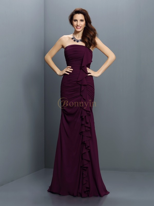 Grape Chiffon Strapless Trumpet/Mermaid Sweep/Brush Train Bridesmaid Dresses
