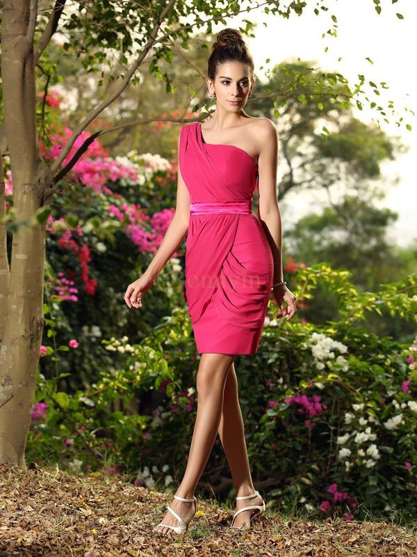 Fuchsia Chiffon One-Shoulder Sheath/Column Short/Mini Bridesmaid Dresses