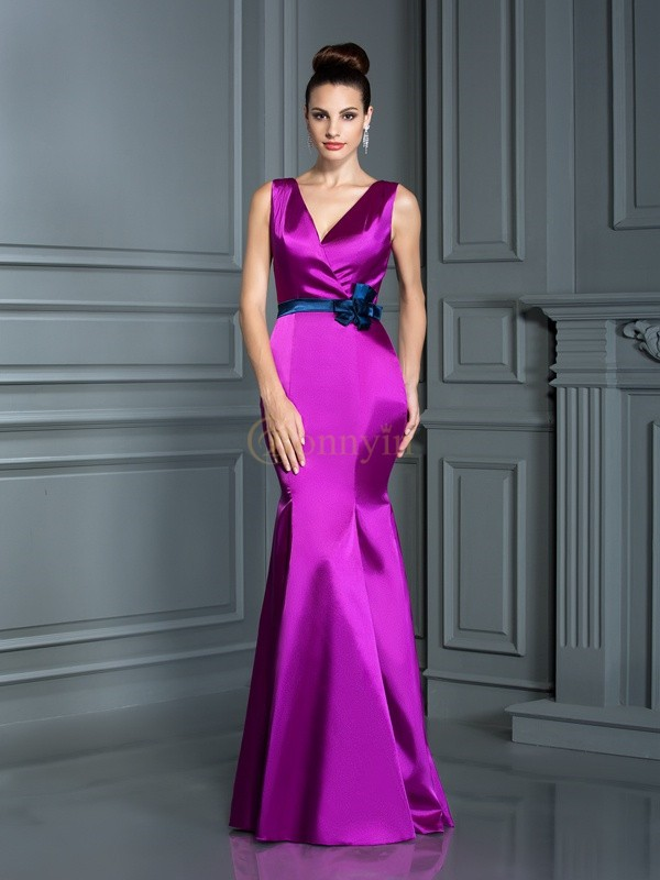 Fuchsia Elastic Woven Satin V-neck Floor-Length Bridesmaid Dresses