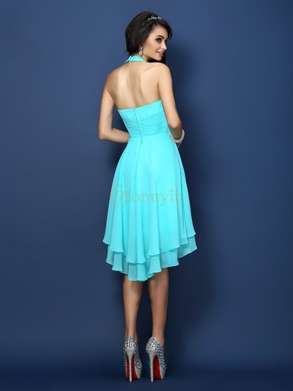 Blue Chiffon Halter A-Line/Princess Short/Mini Bridesmaid Dresses